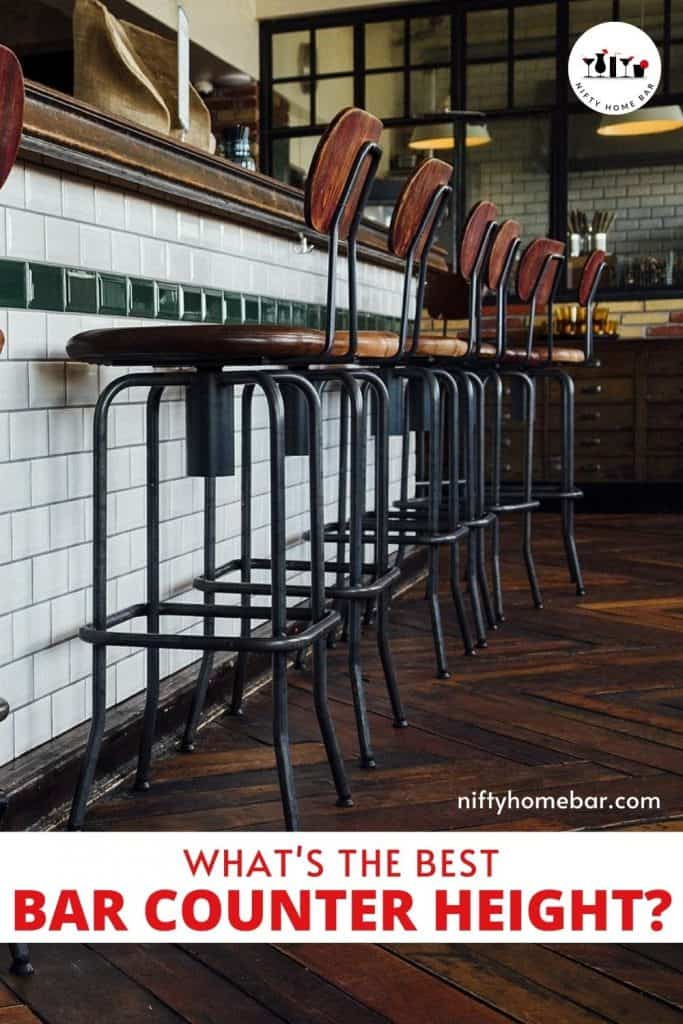"Photo collage of barstools and white subway tile covered bar with the text ""What's the best bar counter height?"""