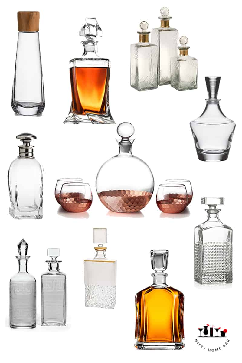 Photo collage of a group of decanter sets