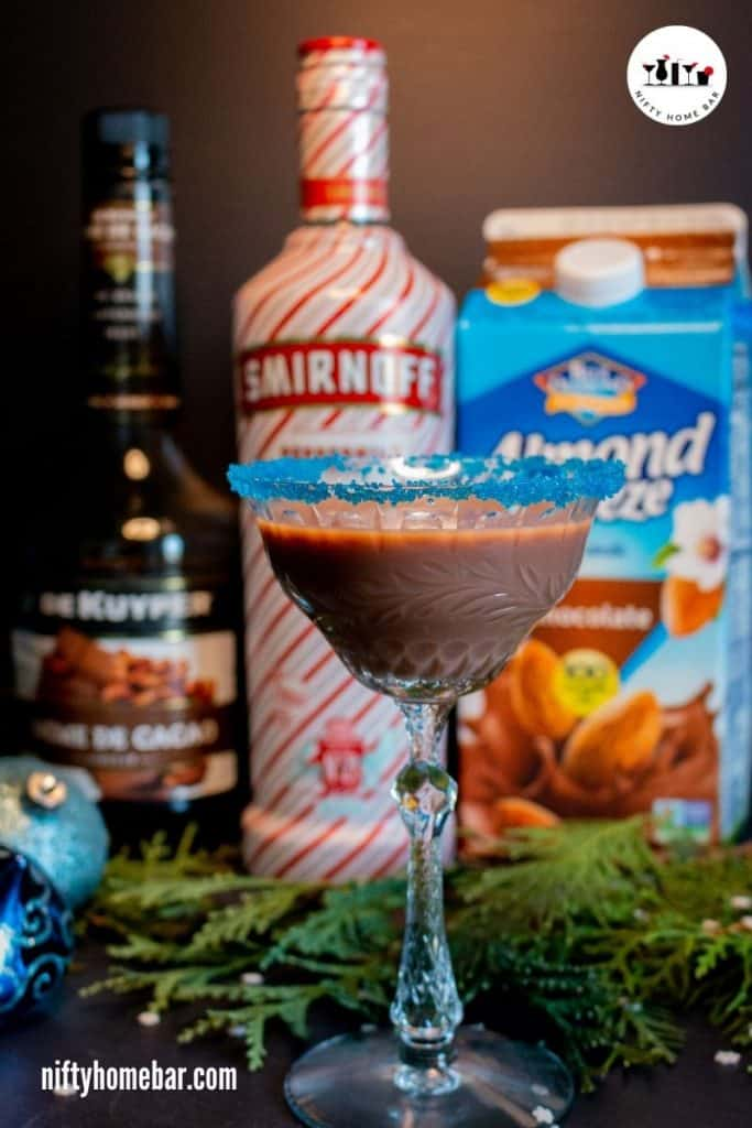 Make the holidays even more special with this tasty chocolate peppermint cocktail. It's vegan friendly, made with chocolate almond milk and peppermint vodka.